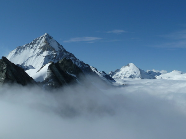 Dent Blanche and Dent d'Hérens above the clouds