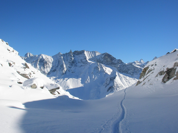 View from la Forcla, Dent Blanche, Tsa, Douves Blanches, Dent d'Herens
