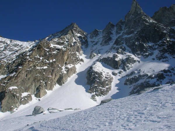 Looking back up the couloir