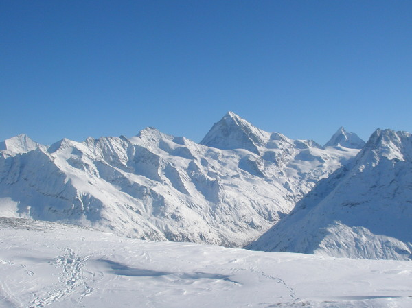 View from the top, Zinal Rothorn, Grand Cornier, Dent Blanche, Matterhorn