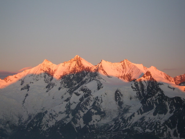 Dawn on the Mischabel range from the Lagginhorn